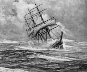 picture of ship in heavy seas with lee rail under