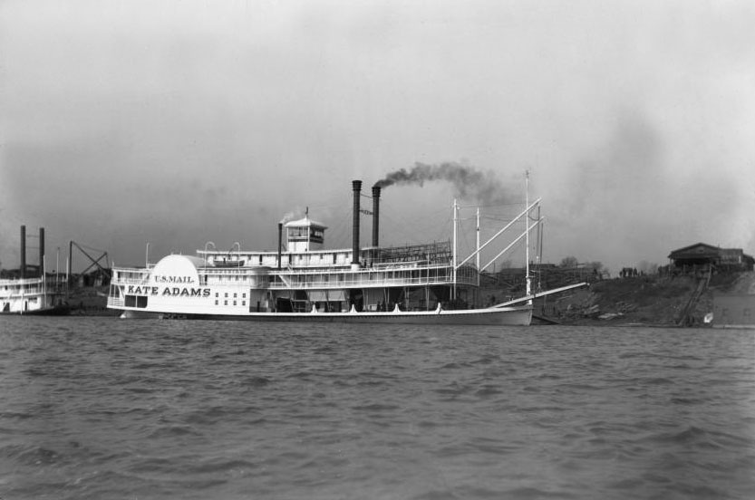 Vintage photo of the Kate Adams: Starboard view of Sidewheel Steamer Kate Adams shortly after launching, Jeffersonville (formerly Port Fulton), Indiana, Ohio River, 1899, from Howard Steamboat Museum Collection (ULPA 1986.90), University of Louisville Photographic Archives.