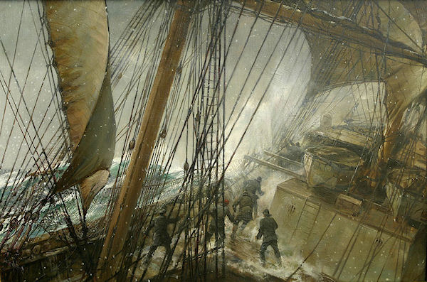 "Here's a fine painting titled ""Rounding Cape Horn"" by Montague Dawson to go along with the poem by Cicely Fox Smith"